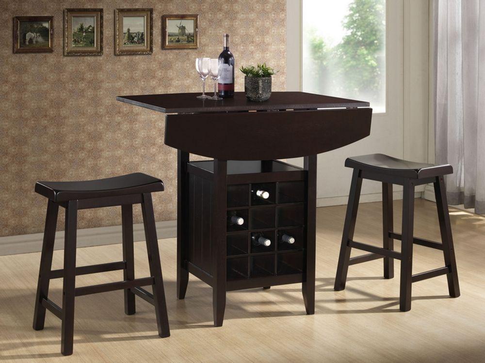 wine rack dining table. Baxton Studio Reynolds Black Wood 3-Piece Modern Drop-Leaf Pub Set With Wine Rack Dining Table B