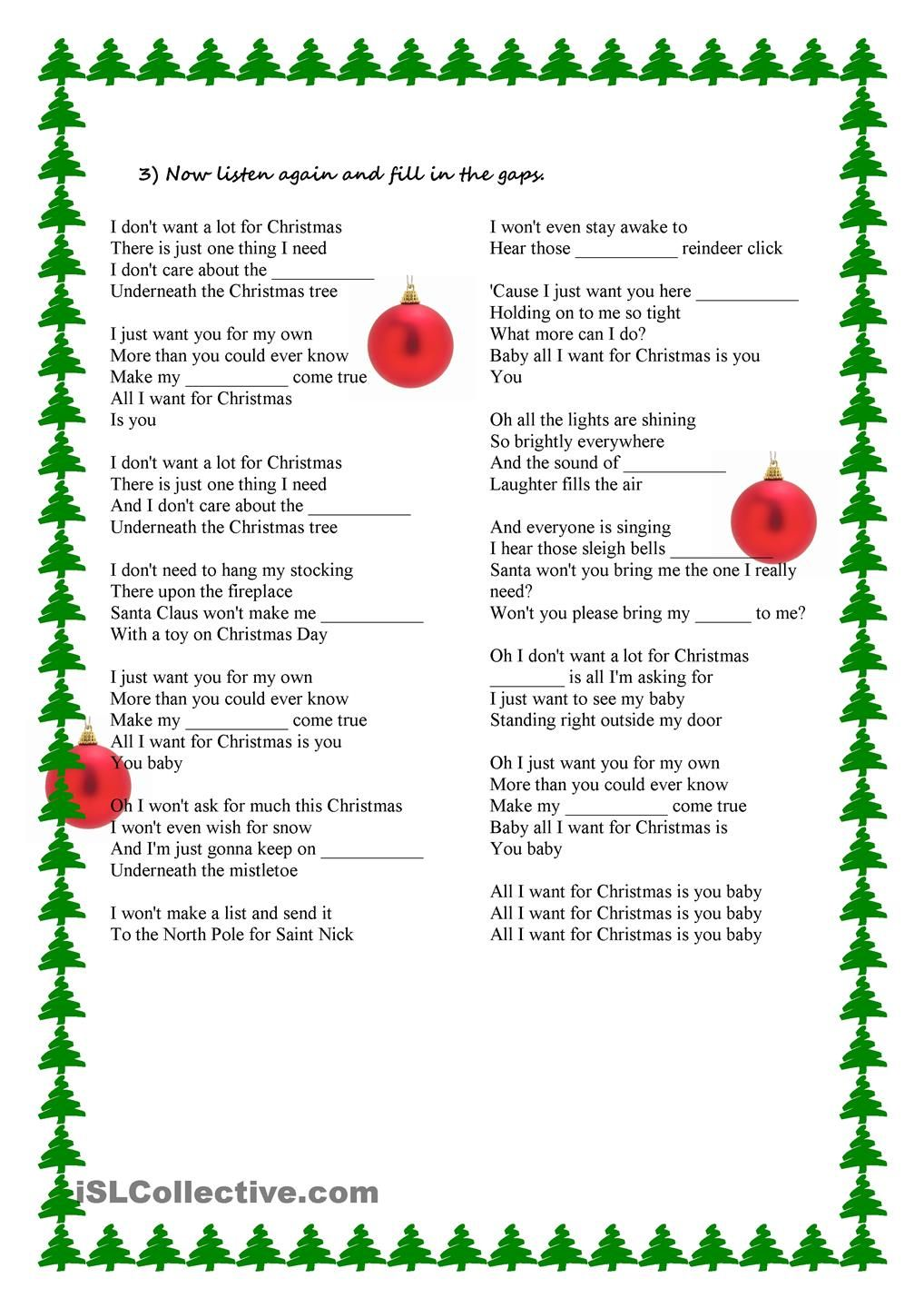 Song Activity - All I want for Christmas is you | ESL 2 | Pinterest ...
