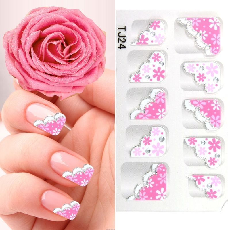YiMei Nail art nail stickers fashion French nail decals pink and ...