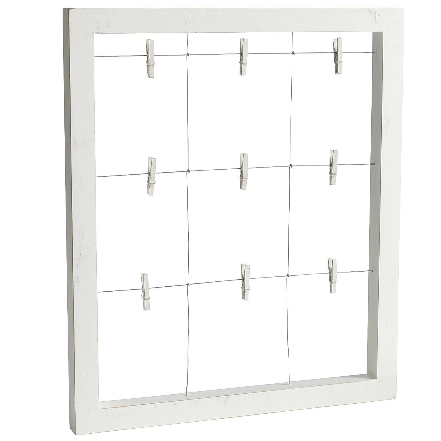 Clip It White Window Wall Frame: A wire grid with nine metal clips ...