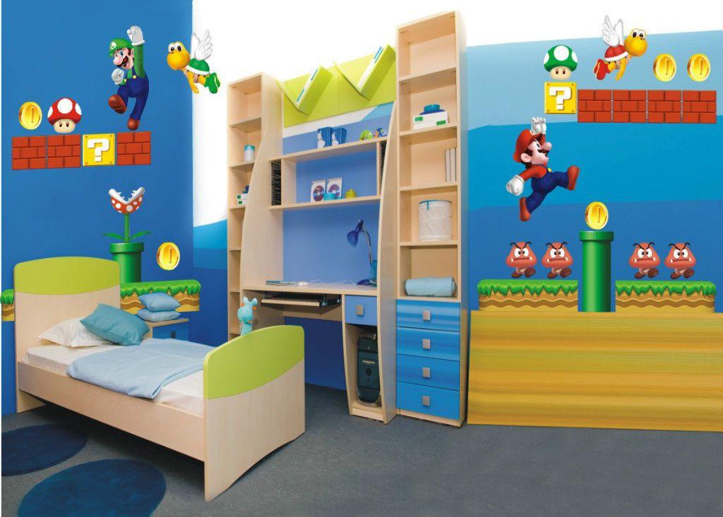 New super mario bros jeu chambre decor enfants autocollant amovible xxl quatre ebay mario - Deco chambre mario ...