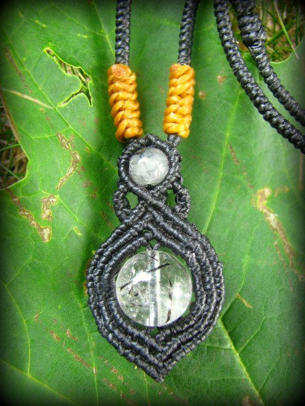 ブラックルチルクォーツのシンプルマクラメ編みネックレス*天然石*パワーストーン