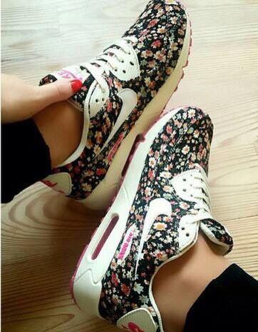 free shipping e6d6b cd485 Nike Air Max 90 Floral Print Womens Jasmine Flower Running Shoes !
