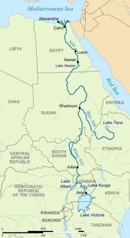 The source of the Nile River is Lake Victoria located in southern