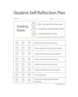 Student Reflection Lesson Plan Template Preschool Lesson Plans