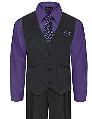 Shirt Hanky Formal Wedding Boy/'s PINSTRIPED Vest Pant Set 5-Piece with Tie