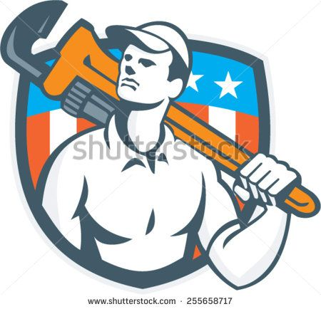 Illustration Of A Plumber Carrying Monkey Wrench On Shoulder Looking Up To The Viewed From Front Side Set Inside Shiel Retro Illustration Retro Vector Usa Flag