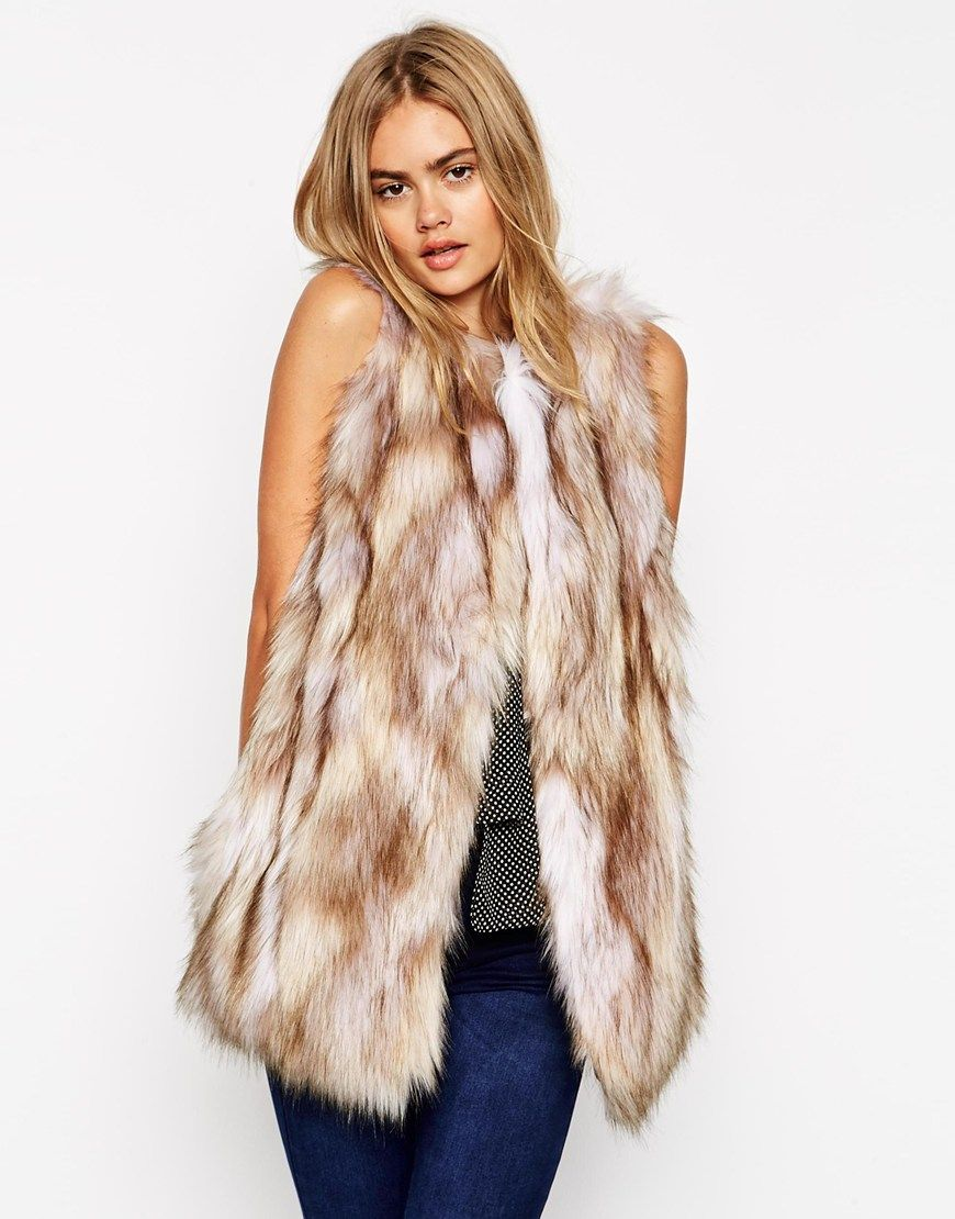 ASOS Longline Gilet In Vintage Faux Fur