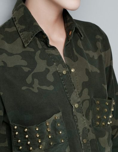 9bbc78ed Studded Collared Blouse with Pockets. STUDDED CAMOUFLAGE SHIRT - Shirts -  Woman - ZARA United States