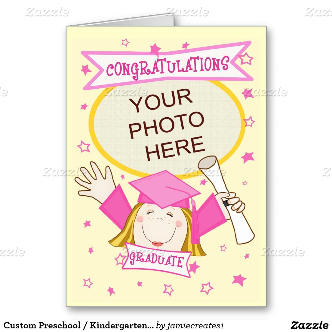 Custom Preschool Kindergarten Girl Graduation Card Gifts For All