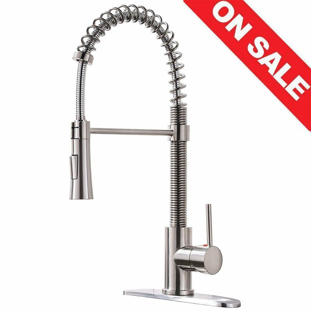 Kingo Home Lead Free Modern Stainless Steel Single Handle Pull Down Sprayer Brushed Nickel Kitchen Faucet Kitchen Sink Faucets Kitchen Faucet