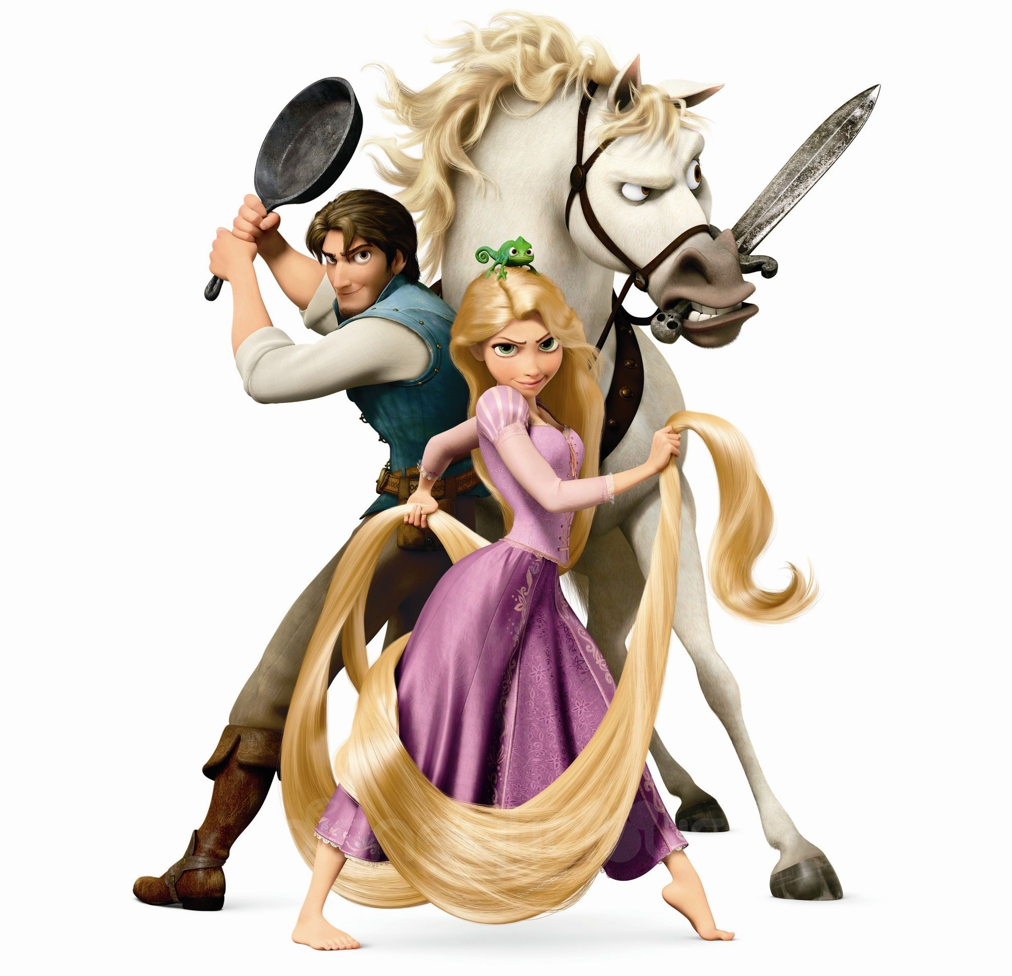 Rapunzel, Flynn Rider, Pascal the chameleon and Maximus the horse ...