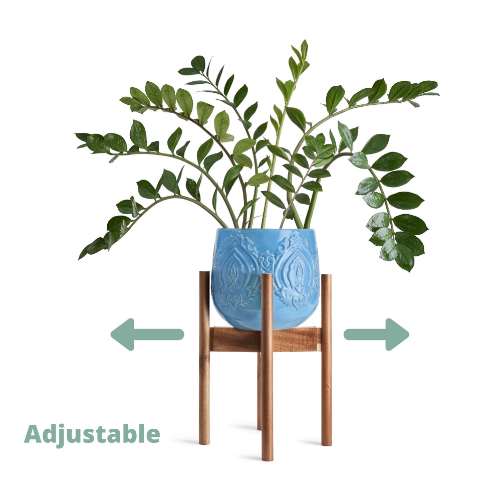 Plant Stand Mid Century Adjustable Acacia Wooden Plant Etsy In 2020 Wooden Plant Pots Plant Pot Holders Flower Pot Holder