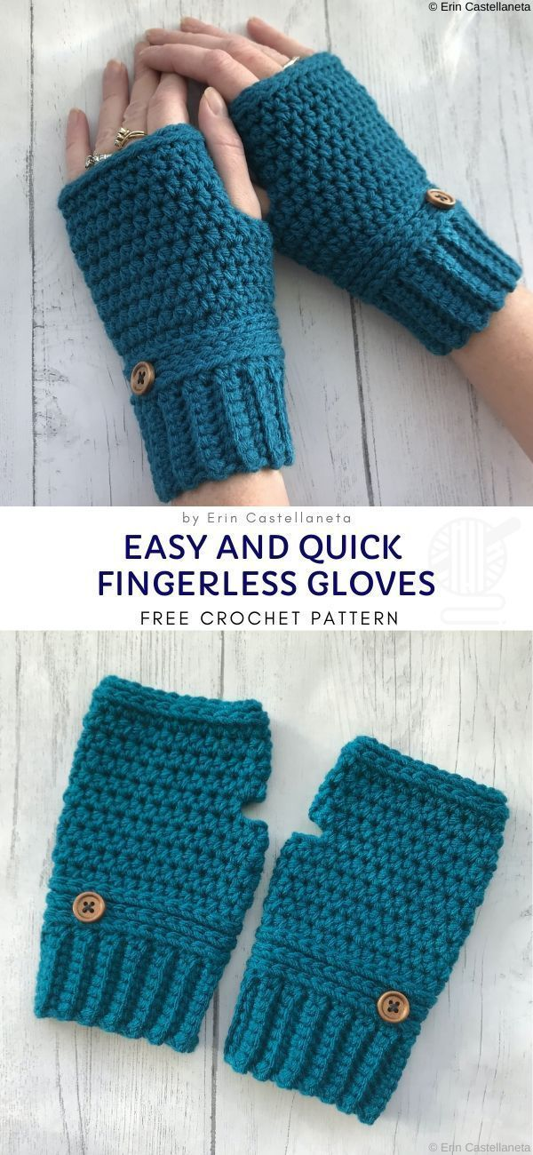 Easy and Quick Fingerless Gloves Free Crochet Pattern  If you want to make a last minute gift, or you're just a person who tends to loose their gloves on a daily basis, those warm, turquoise gloves will be perfect.  #crochet #gloves #fingerless #winter #autumn
