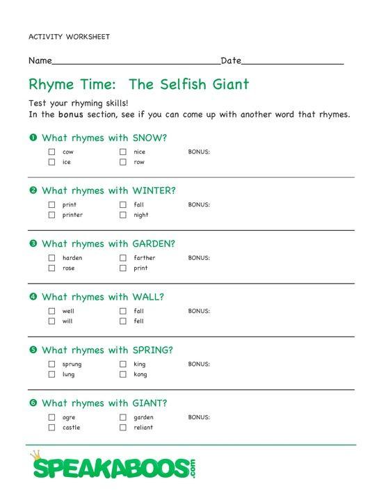 rhyme time the selfish giant speakaboos worksheets education