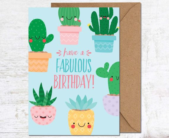 Cactus Card Birthday Card Birthday Card Friend Birthday Card