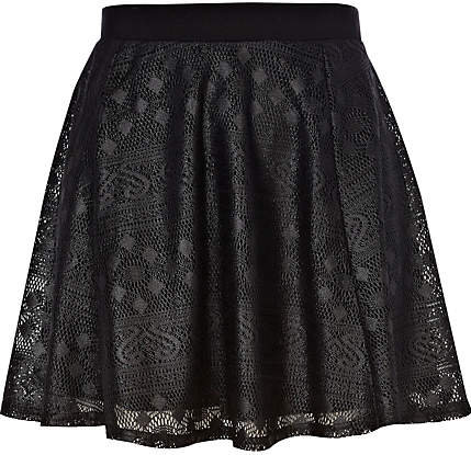 #River Island             #Skirt                    #Black #coated #lace #mini #skater #skirt           Black coated lace mini skater skirt                                           http://www.seapai.com/product.aspx?PID=226758
