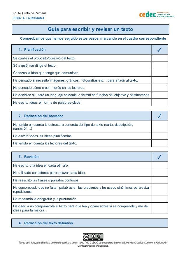 Lista de cotejo de la escritura de un texto | Rúbricas y documentos ...