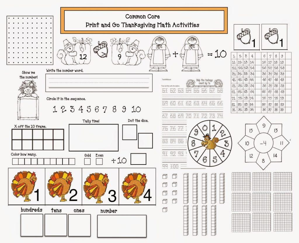 Printable Math Thanksgiving Worksheets In
