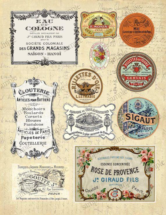 Vintage French Labels No 1 Digital Collage Sheet Instant Etsy Collage Sheet Digital Collage Sheets Vintage Labels