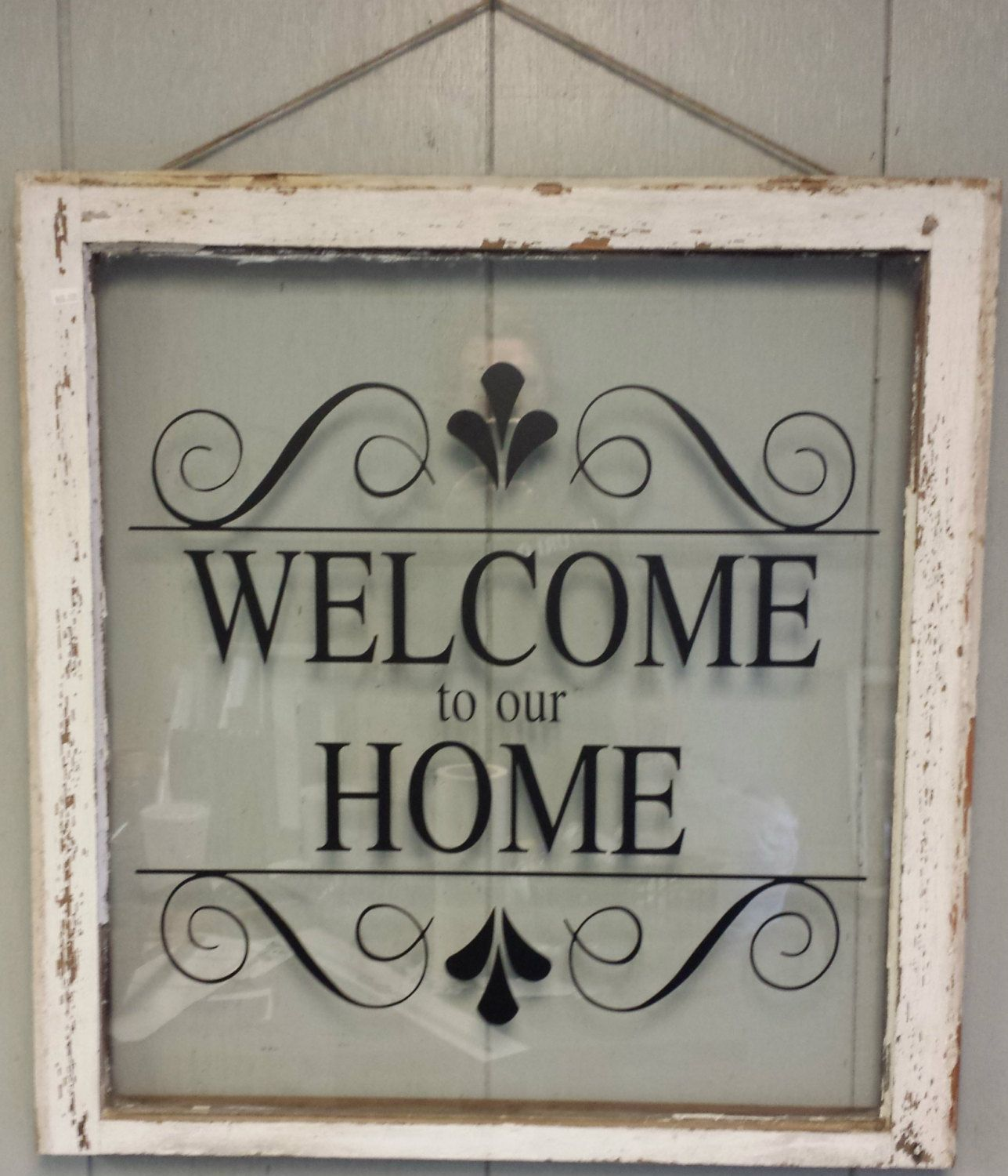 "vintage single pane window personalized ""welcome to our home"