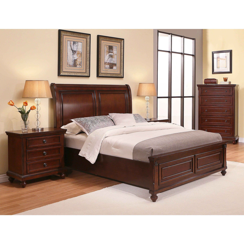 Abbyson Caprice Cherry Wood Bedroom Set 4 Piece Brown  Queen Fair Wood Bedroom Sets Decorating Inspiration