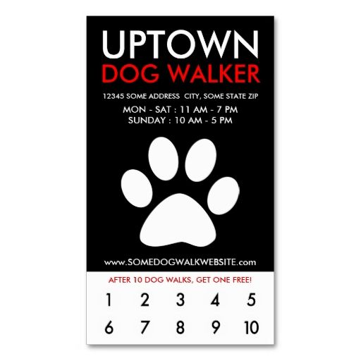 uptown dog walker loyalty business card template This is a fully - missing pet template