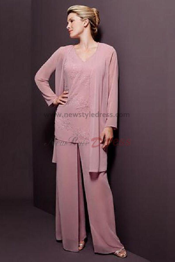 V-neck Pink Chiffon Three Piece pants sets mother of the bride dress ...