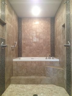 Walk Thru Showers Dual Shower Heads Shower And Bathtub With