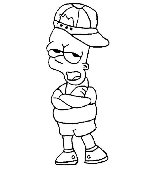 bart simpson wearing hat in the simpsons coloring page