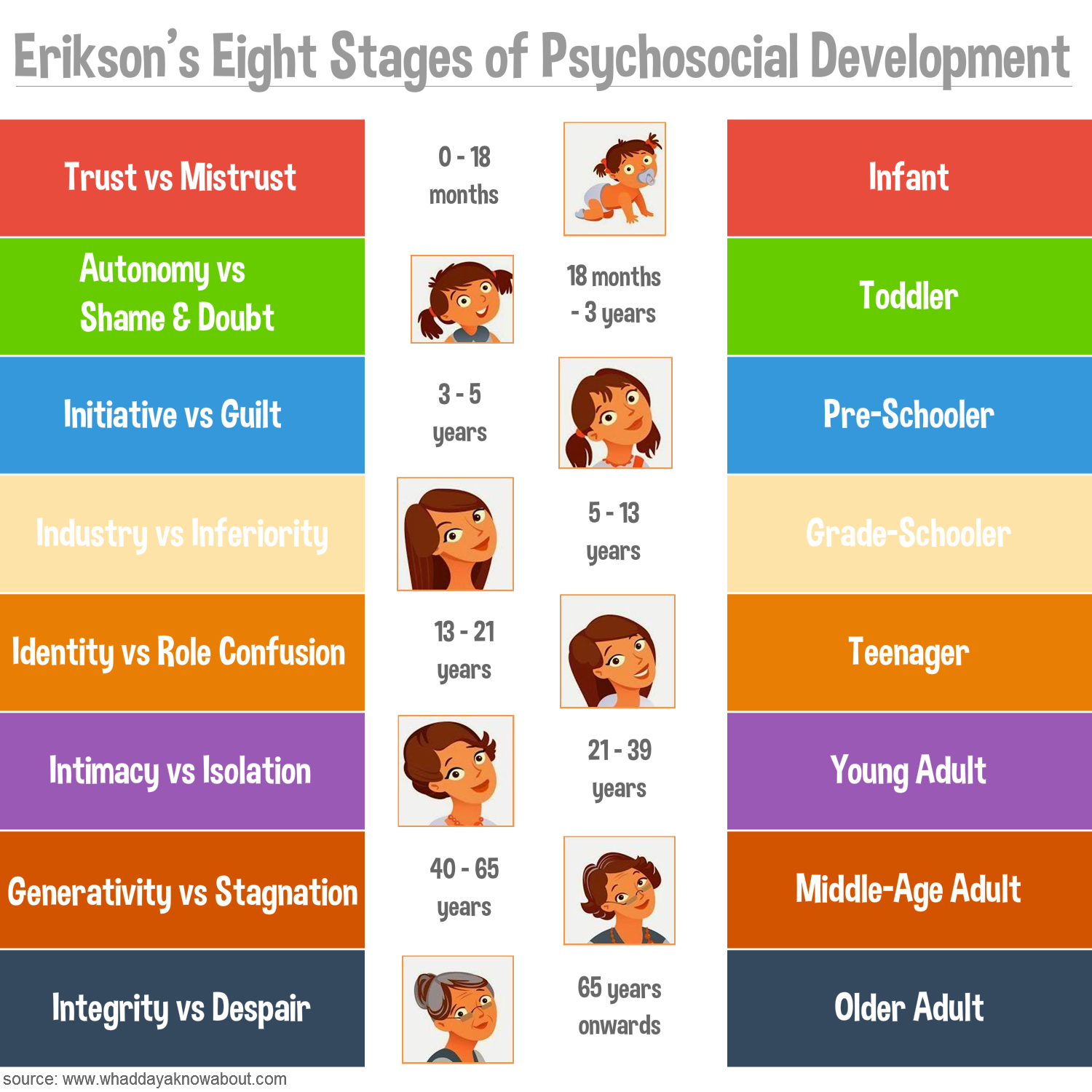 eriksons life stages Erikson's theory posits that every human being passes through several distinct  and qualitatively different stages in life, frombirth to death according to him, the.