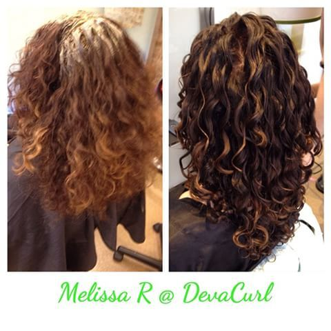 Deeper Base Color With Lowlights And Toned Down The Highlights Devacurl Mydevacurl Devach Curly Hair Styles Naturally Curly Hair Styles Medium Hair Styles