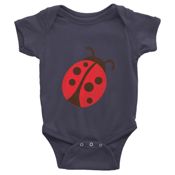 This short-sleeve baby onesie is soft, comfortable, and made of 100% cotton. It's designed to fit infants of all sizes, with a rib knit to give good stretch and a neckband ... #ladybug