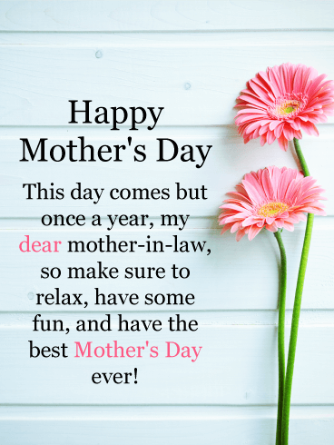 Pink daisy happy mothers day card for mother in law this special pink daisy happy mothers day card for mother in law this special day comes around once a year so make sure to send a mothers day card that your m4hsunfo