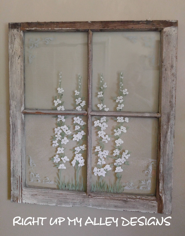 Old painted window, white flower art,french stencil window art ...