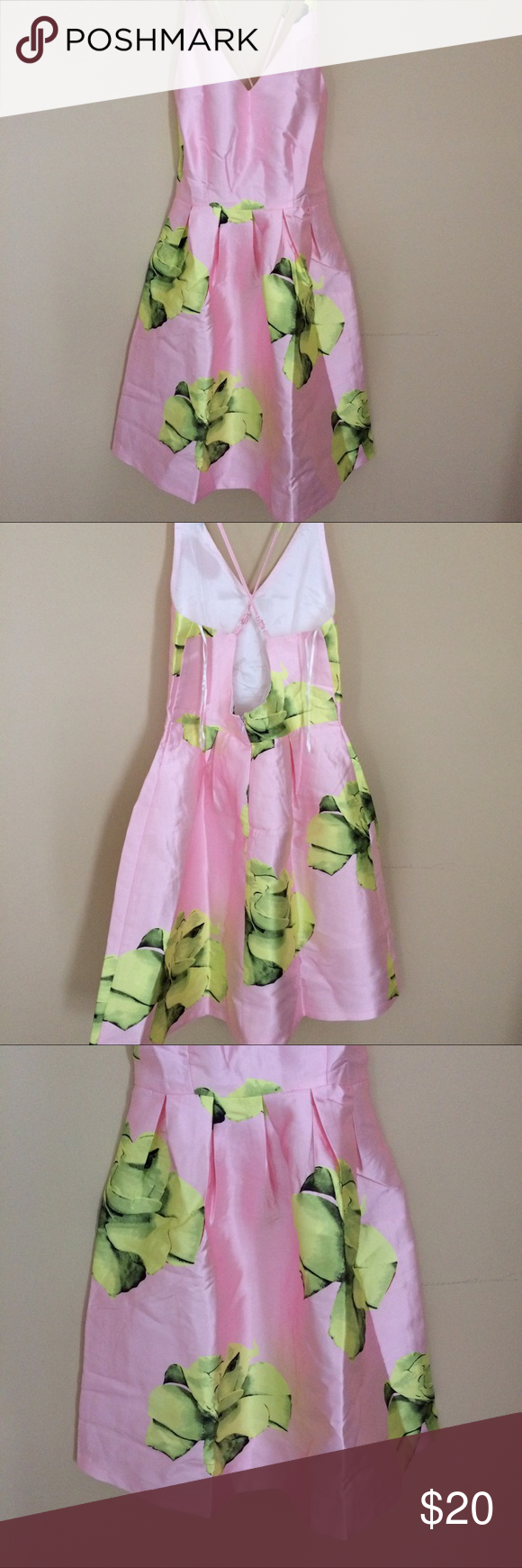 Beautiful pink and yellow floral dress Beautiful pink spaghetti strap dress with yellow floral design. Size small. Perfect for a special occasion or a night out this summer. Dresses