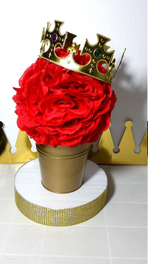 FLOWER PAIL Red And Gold Baby Shower Table Centerpiece / Boys Red And Gold  Royal Prince Baby Shower Theme And Decorations