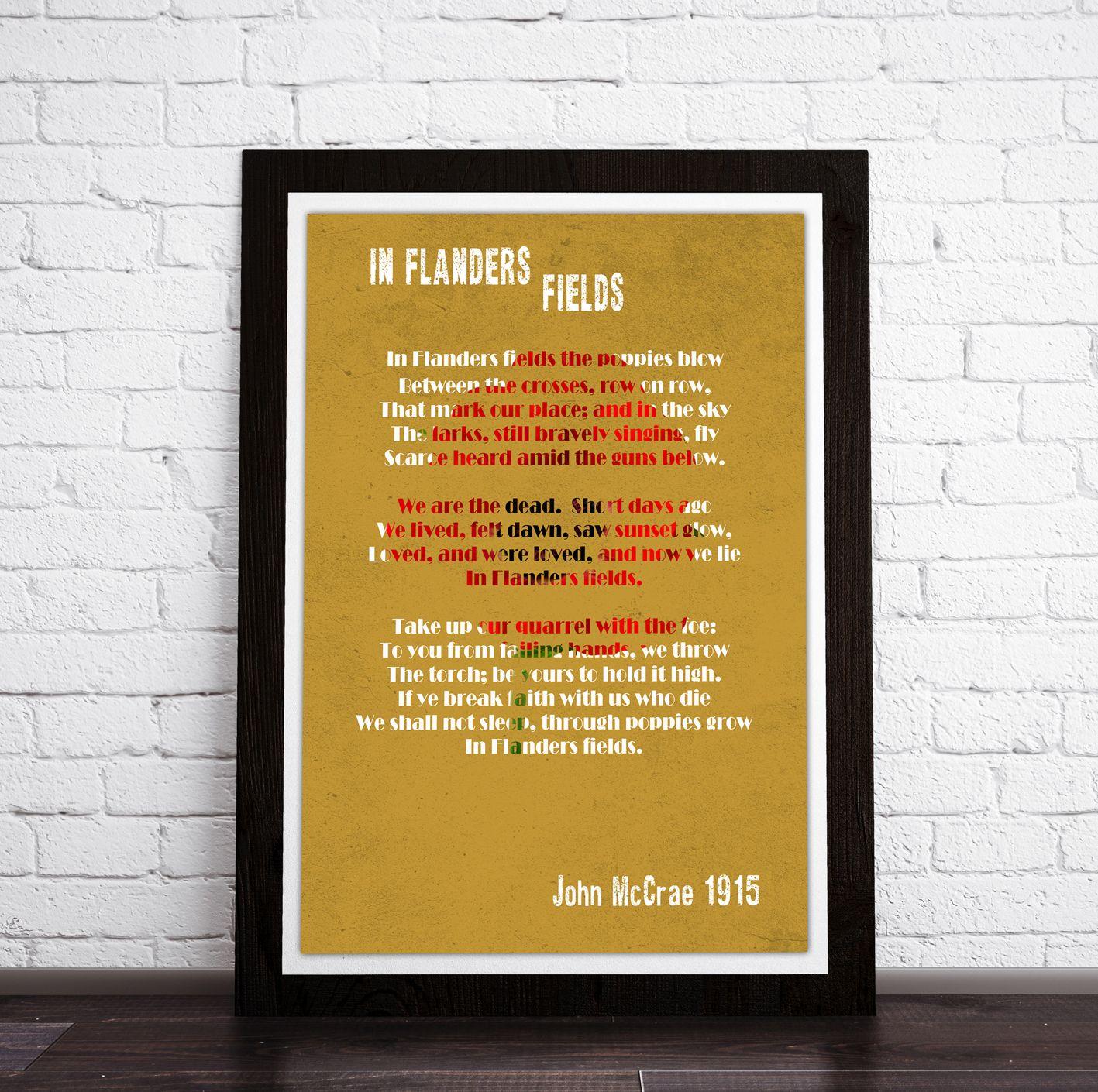 Framed print - In Flanders Fields Poem, John McCrae. Poem art ...