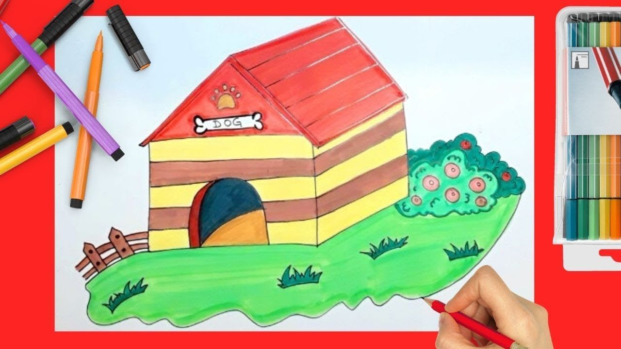How To Draw Dog House Step By Step Dog Doglovers Doghouses