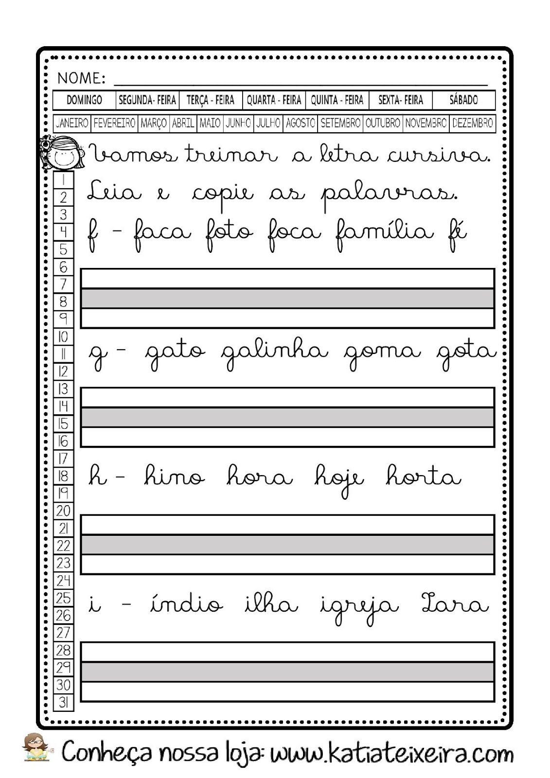 Caderno De Caligrafia Gratis Letras E Palavras Em Pdf Atividades