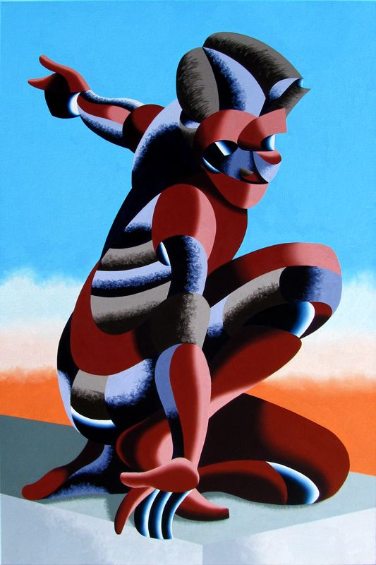 "Mark Webster - Bennett 1023 - Abstract Geometric Futurist Figurative Oil Painting by Mark Webster Oil ~ 36"" x 24"""
