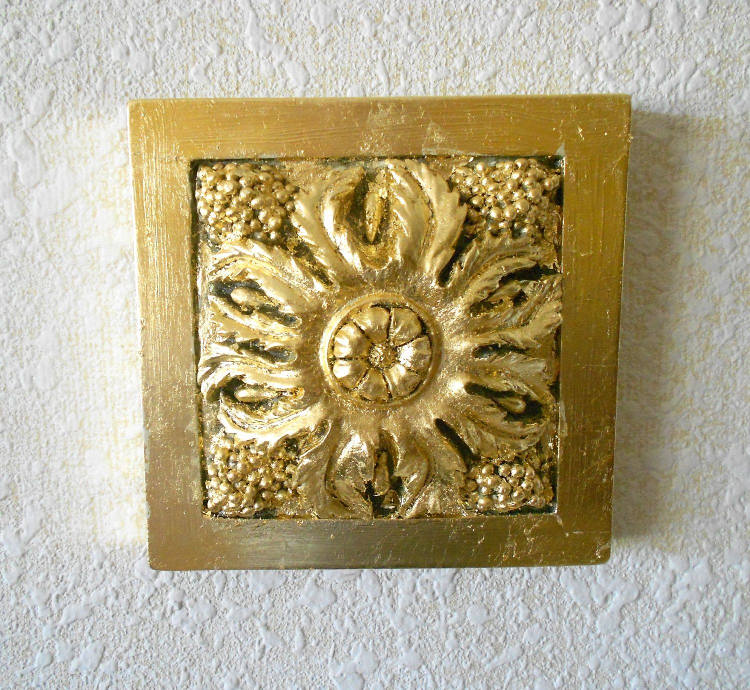 Decorative Wall Art,Square Antiqued Gold Wall Art,Gold Frame Wall ...