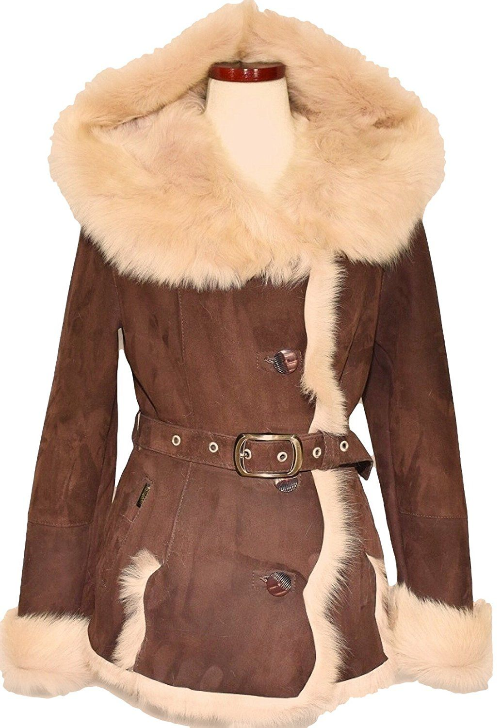 Dudex Women'S Suede Sheepskin Lambskin Leather Jacket