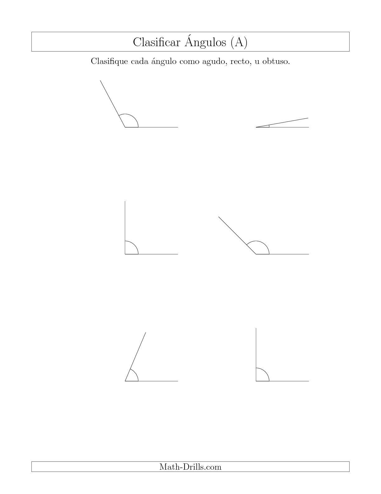 La hoja de ejercicios de matemáticas de Identificar Ángulos Simples ...