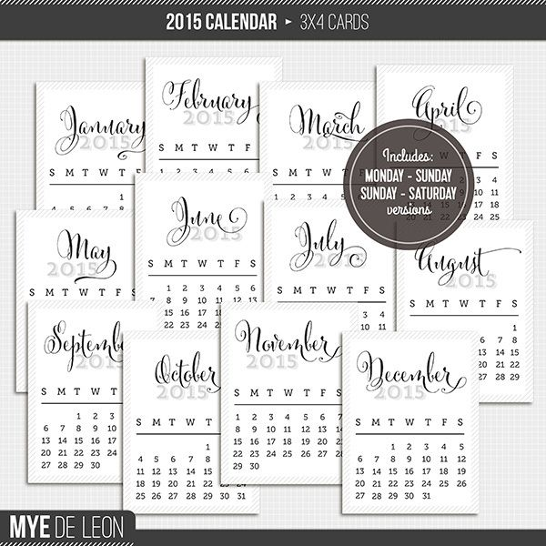 2015 Calendar Cards Freebie For Project Life Project Life