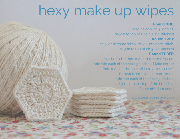 hexy make up wipes free pattern. Crochet your own cotton make up ...