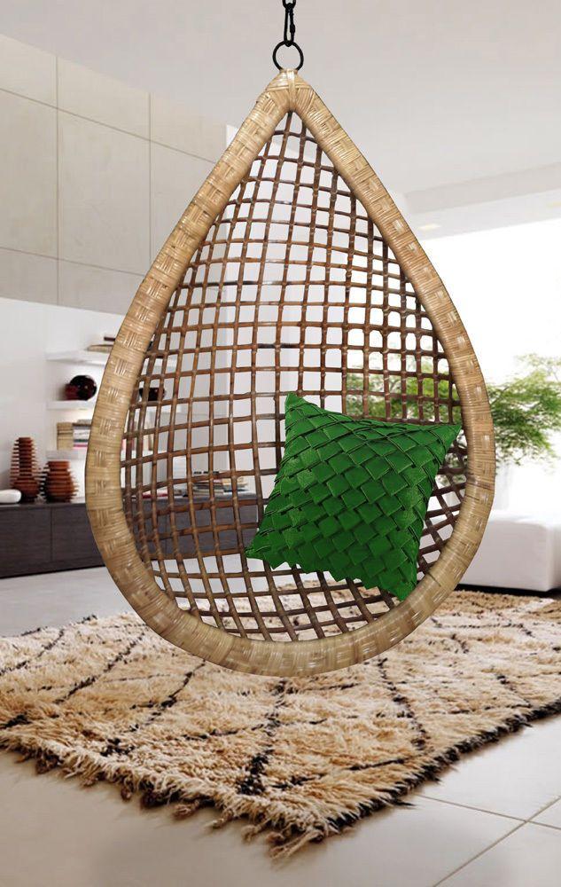 Eye Drop Handmade Hanging Cane Wicker Swing Chair #Handmade