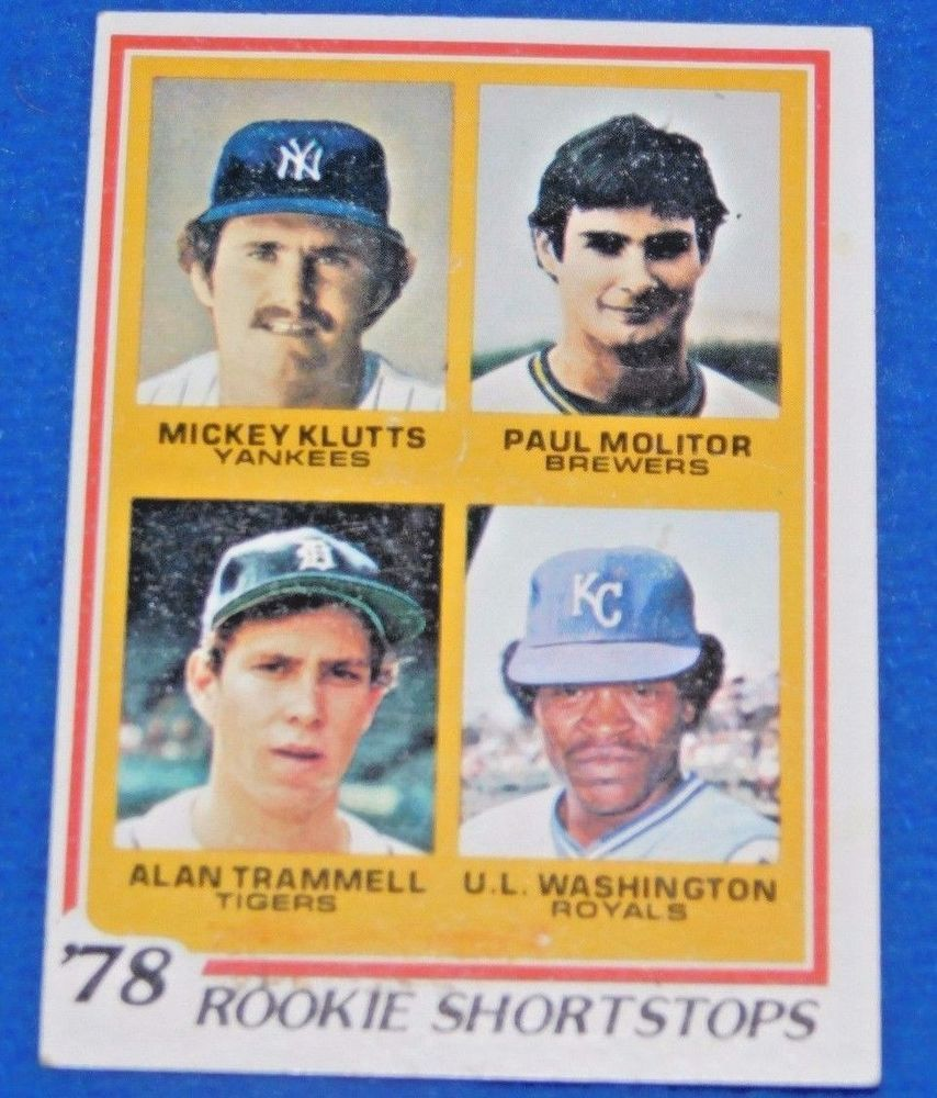 Paul Molitor Alan Trammell 1978 Topps Baseball Rookie Card