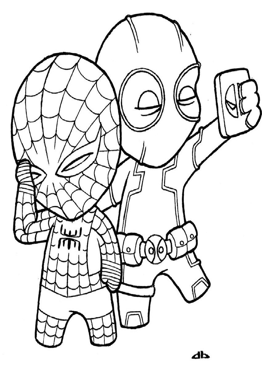 Littledeadpoolandlittlespidermanbyjosh Dbvl Best Coloring Page Site Spiderman Coloring Superhero Coloring Pages Marvel Coloring