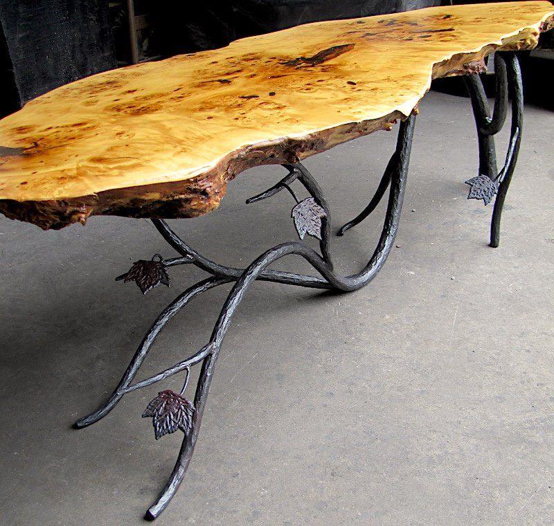 Coffeetable Furniture Design Liveedge Forged Iron